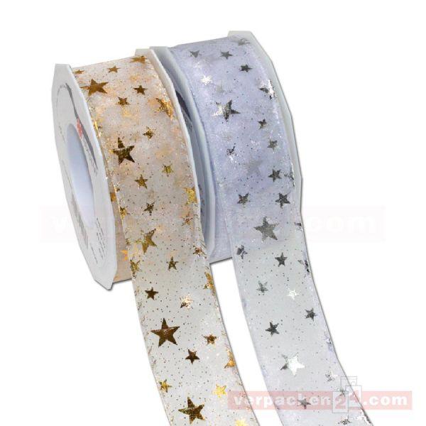 Seidenband mit Drahtkante - Orion - Rolle 40 mm - silber