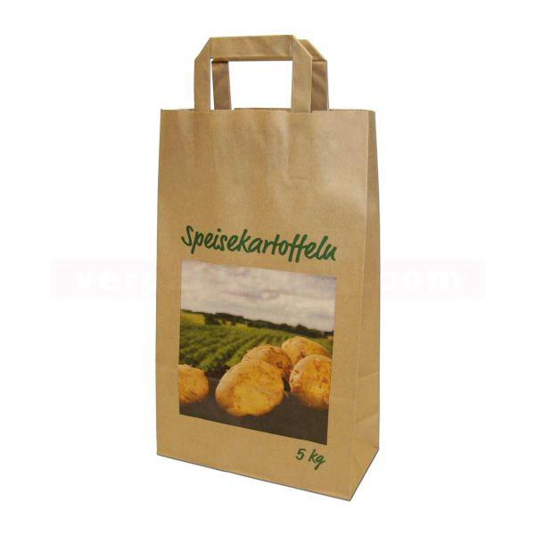 Papiertragetasche, Kartoffeln braun, Landschaft - 22+10x36cm