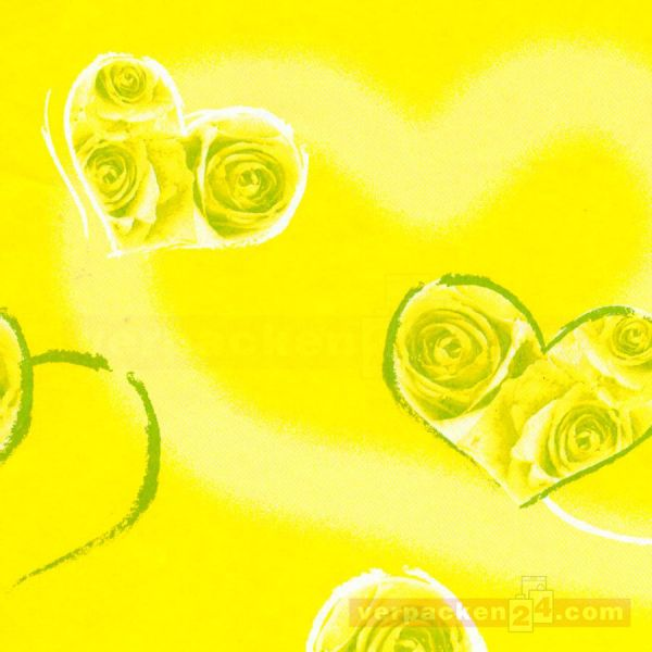 Blumenseiden, weiß Recycling - My Heart gelb - Rolle - 75 cm