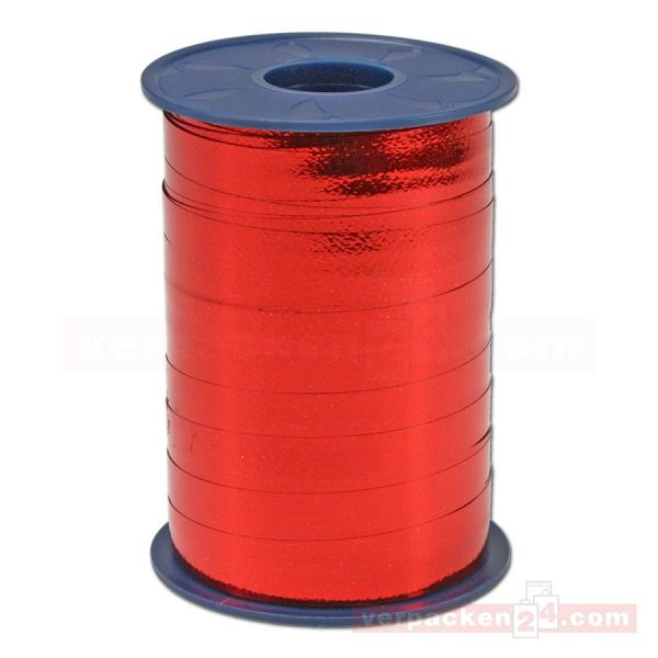 Glanzband metallisiert - 10 mm - Rolle 250 m - rot (609)