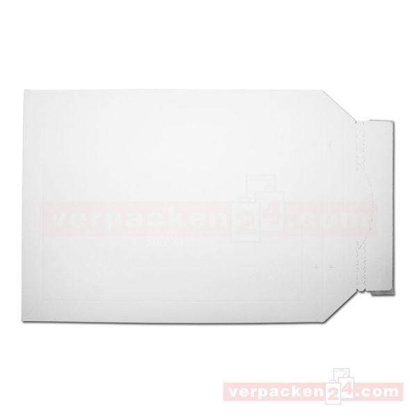 Versandtaschen Vollpappe, weiß - Wiederverschluß - 260x345+30mm
