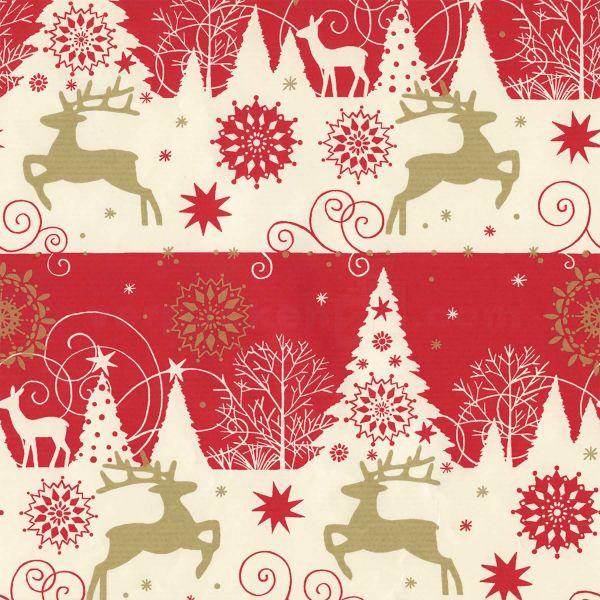 Weihnachts Geschenkpapier W 39851, Rolle 50 cm - Elche, Tannen