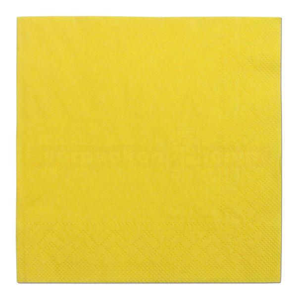 Tissue-Servietten farbig, 3-lagig, 25x25cm - 1/4 Falz - gelb