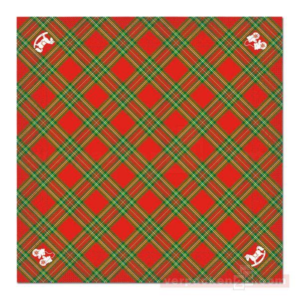 Servietten Tissue Xmas, 40x40 cm - 1/4 Falz, Charles - rot/grün