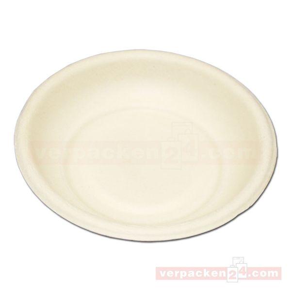 Einweg-Geschirr, Probierteller weiß aus Zuckerrohr - rund, 70 mm