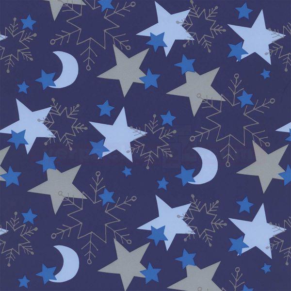 Weihnachts Geschenkpapier W 59211, Rolle 50 cm - Sterne blau
