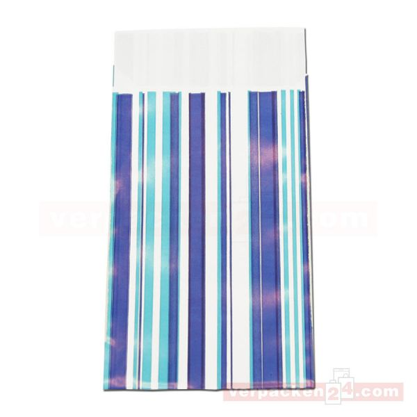 Geschenkflachbeutel, neutral Streifen blau P130 - 95x145+25 mm