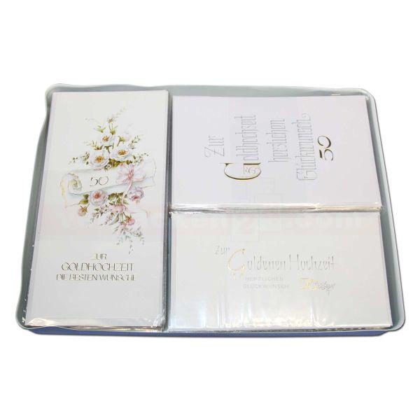 Glückwunschkarten, sortiert, Sortiment - Goldene Hochzeit 6x10