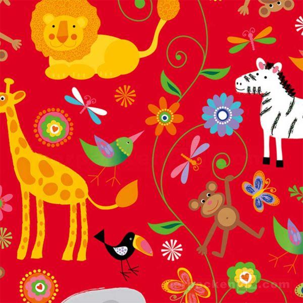 Geschenkpapier Kinder, neutral St 913012, Rolle 50 cm, Dschungel