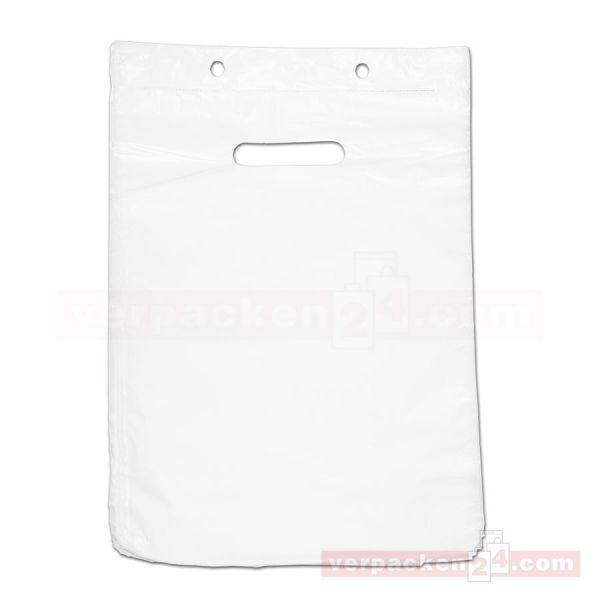 HDPE-Abreißtaschen weiß, ohne Bodenfalte - geblockt