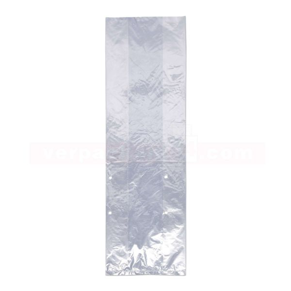 LDPE-Faltenbeutel, transp., gelocht - 17+10x58 cm - 20 µ