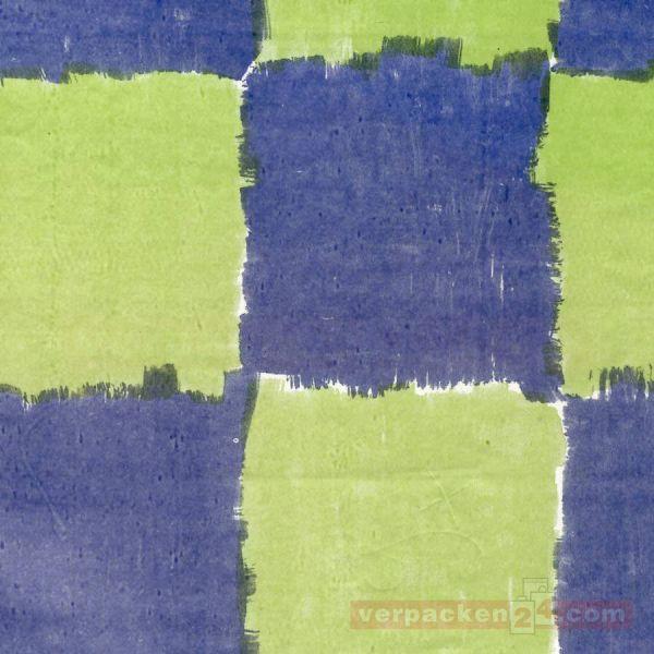 Blumenseiden - Karomotiv - 27/28 g - maigrün/blau - Rolle 75 cm