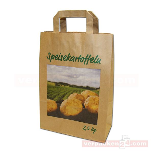 Papiertragetasche, Kartoffeln braun, Landschaft - 22+10x31cm