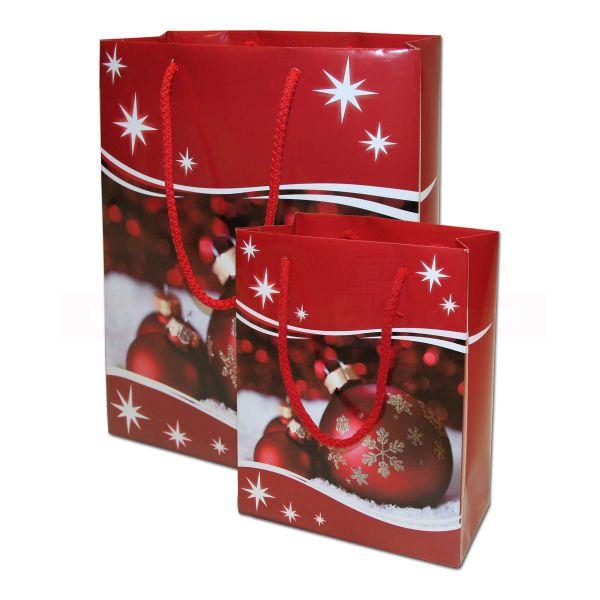 Weihnachts-Papiertragetasche - Exclusiv - rote Weihnachtskugeln