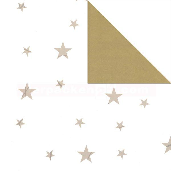 Weihnachts Geschenkpapier St 916299, Rolle 50cm, Sterne creme