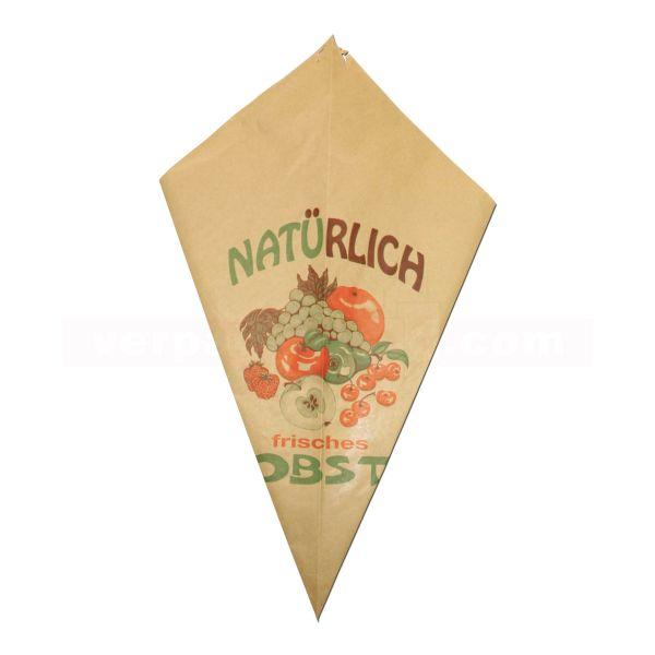 Obstspitztüten, braun Natronmisch 60 g/m² - 1,5 kg - 38 cm
