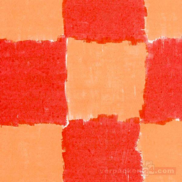 Blumenseiden - Karomotiv - 27/28 g - gelb/orange - Rolle 75 cm