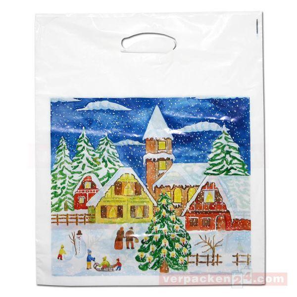 Weihnachts-Polytragetaschen - Winterlandschaft - 37x44+5 cm