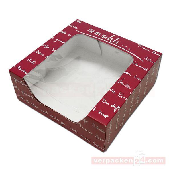 Tortenkarton mit Fenster + Deckel - mmmhh - 185x185x70mm bordeau