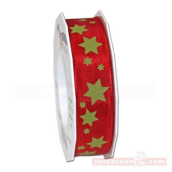 Drahtkantenband - mit Motiv Starlet, Rolle 25 mm - rot/grün