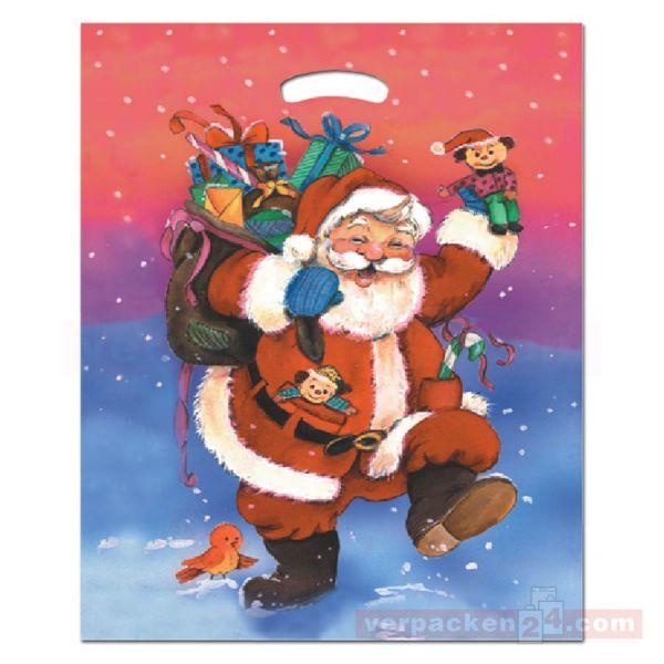 Weihnachts-Polytragetaschen - Father Christmas - 38x45+5/5 cm