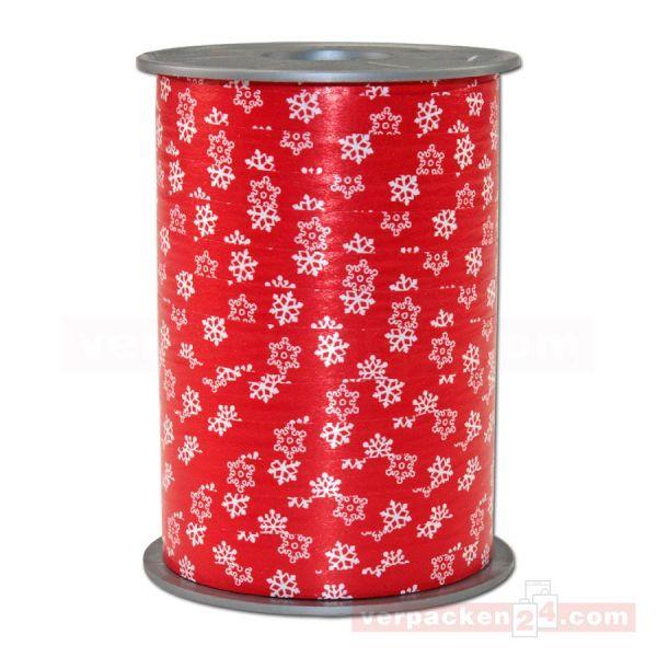 Glanzband Weihnachten - Schneeflocke Rolle, 10 mm - rot