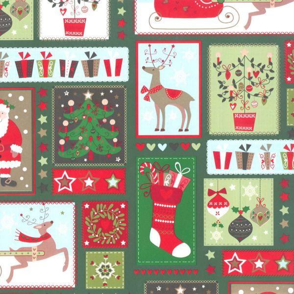 Weihnachts Geschenkpapier St 913247, Rolle 50 cm - Nikolaus grün