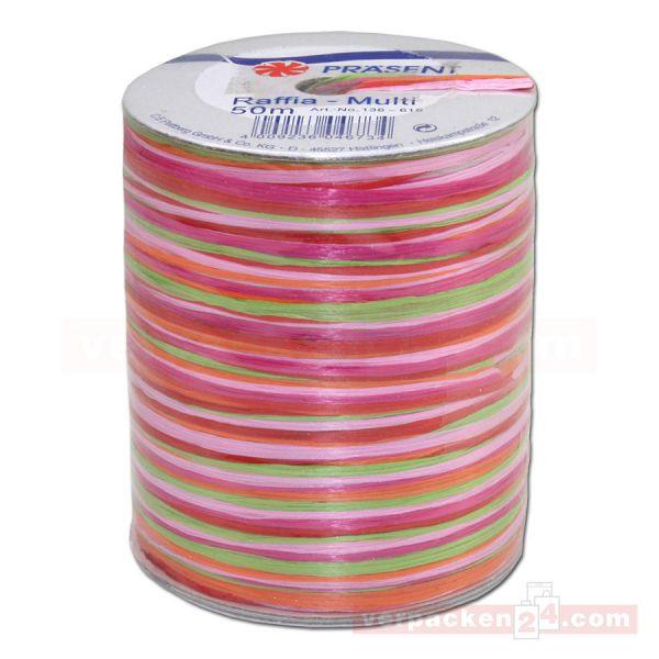 Bastband auf Spule - Raffia Multicolour 50 m - rosa (616)