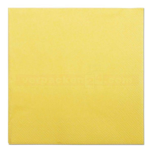Tissue-Servietten farbig, 3-lagig, 33x33cm - 1/4 Falz - gelb