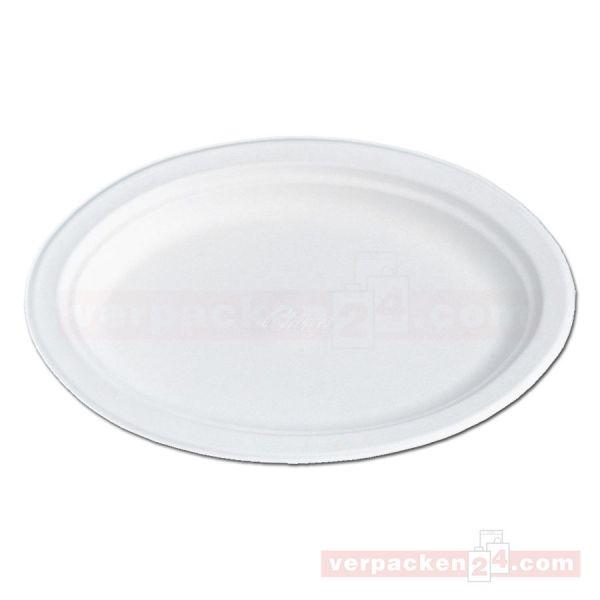 Chinet weiß, Holzschliff, Menü-Teller, oval - 26x19 cm
