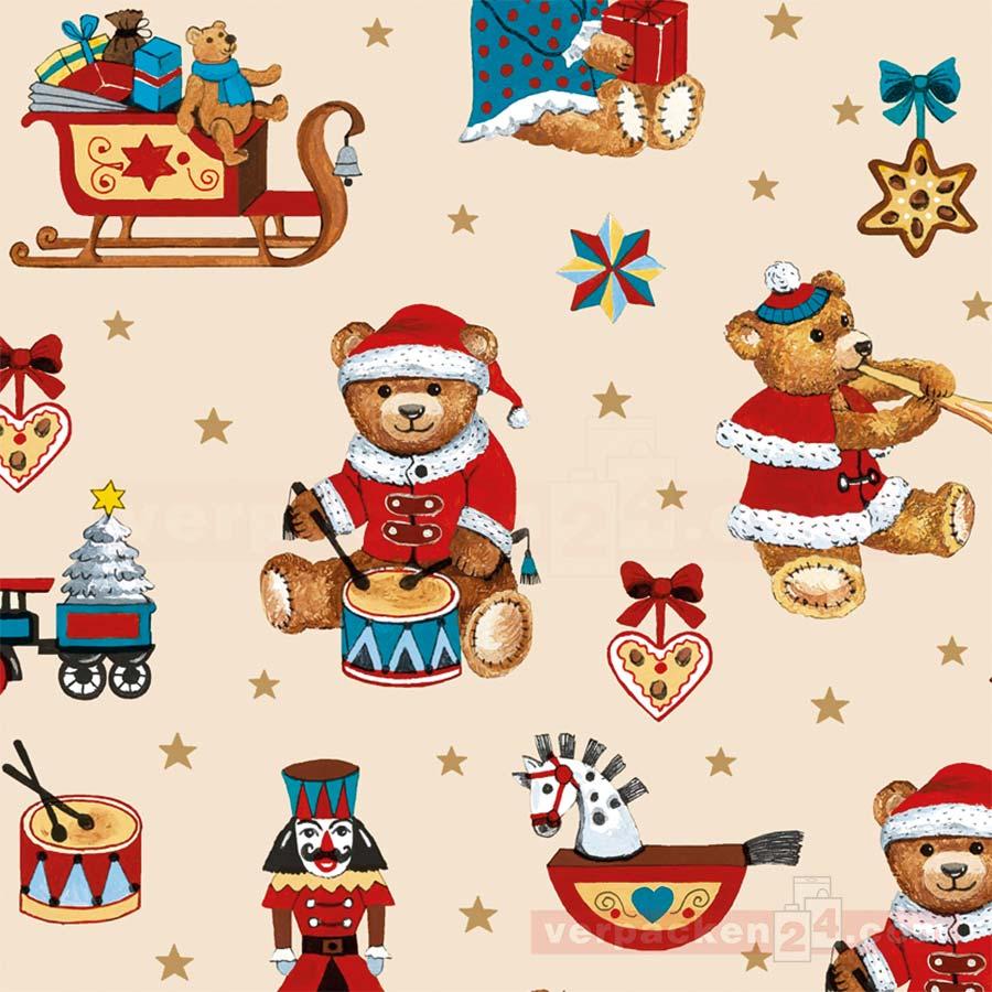geschenkpapier weihnachten 50cm teddyb ren verpacken24. Black Bedroom Furniture Sets. Home Design Ideas