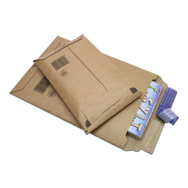 Versandtaschen Wellpappe aroWELL - Kraftpapier braun