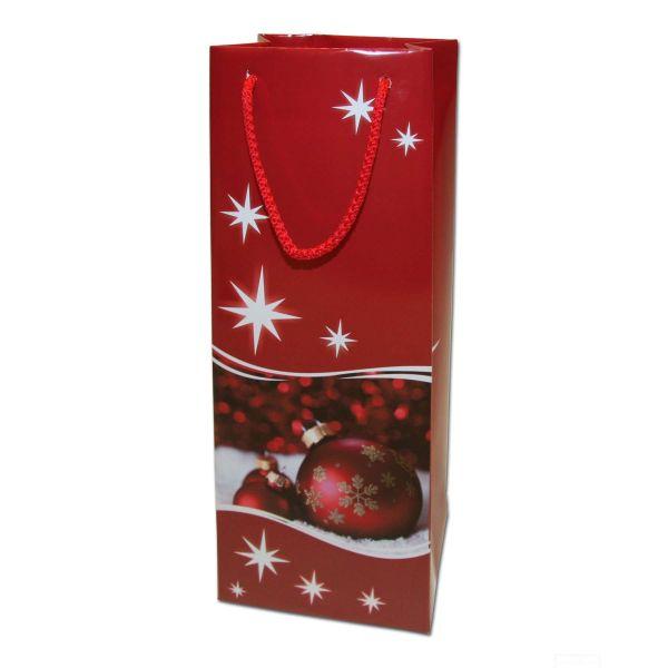 Weihnachts-Papiertragetasche Exclusiv - Kugeln rot 13+ 9x36cm