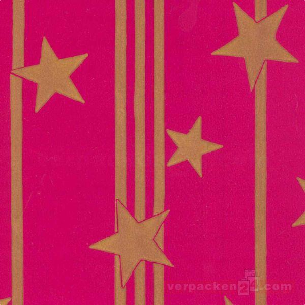 Weihnachts Geschenkpapier B 86091, Rolle 70 cm - Sterne pink
