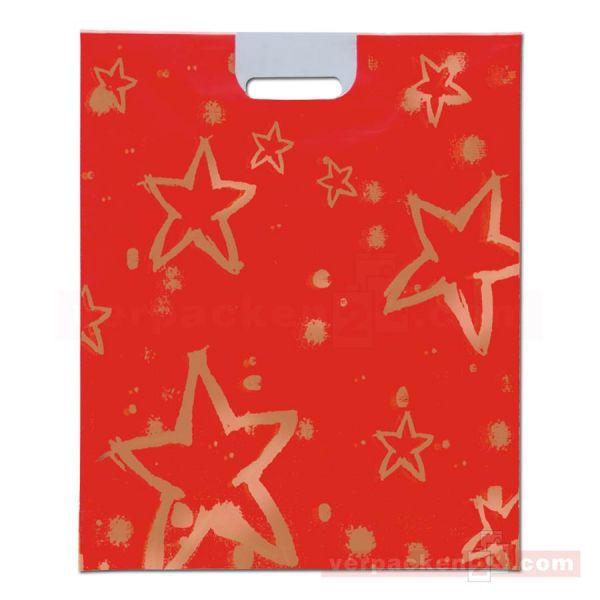 Weihnachts-Polytragetaschen - goldene Sterne - 37x45 cm - rot