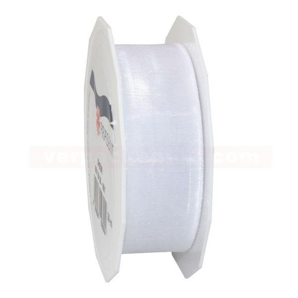 Schleifenband - Sheer - Rolle 25 m, 25 mm - weiß