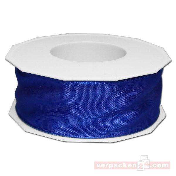 Seidenband - Lyon - mit Drahtkante, Rolle 25 m, 40 mm - blau