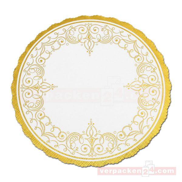 Tortenspitzen weiß, rund, Pergamyn - gold Ornamente