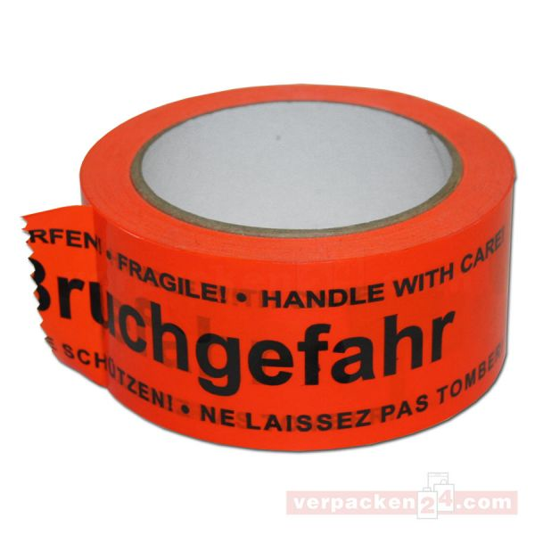 Packband PVC, orange ? Bruchgefahr - Rolle 50 mm / 66 m