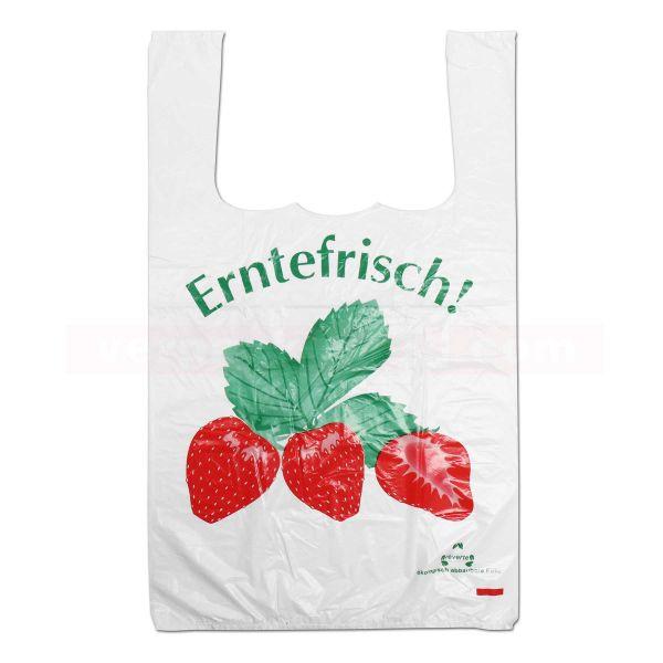 HDPE-Hemdchentaschen, weiß, geblockt - 28+14x46 cm - Erdbeeren