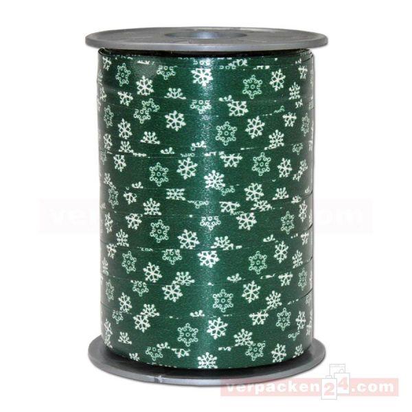Glanzband Weihnachten - Schneeflocke Rolle, 10 mm - dunkelgrün