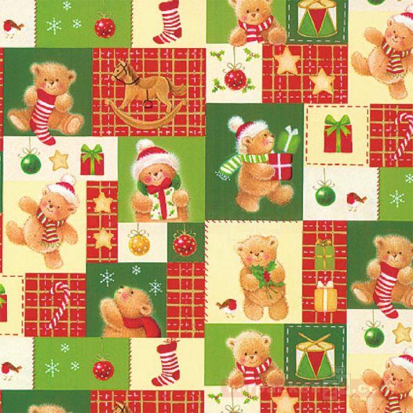 Weihnachts Geschenkpapier St 38441, Rolle 50 cm - Teddybären