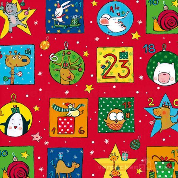 Weihnachts Geschenkpapier St 914160, Rolle 50 cm - Tiere Advent