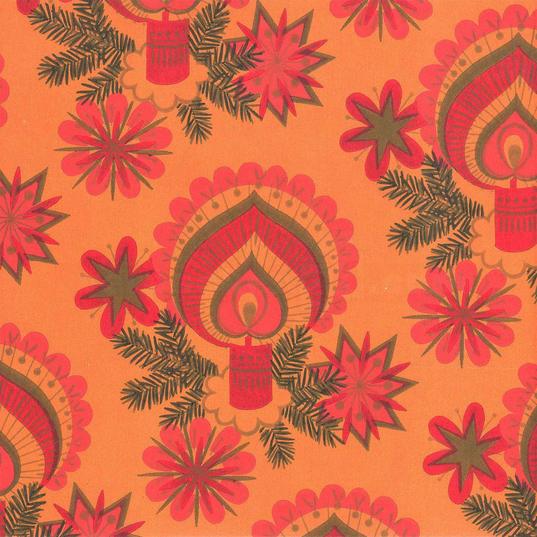 Weihnachts-Geschenkpapier Kerze orange aus Rolle 30cm | verpacken24 ...