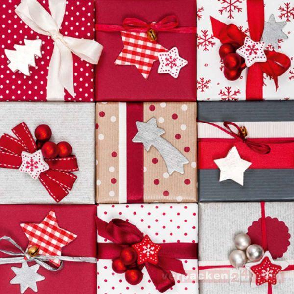 Weihnachts Geschenkpapier St 913228, Rolle 50 cm - Geschenke rot