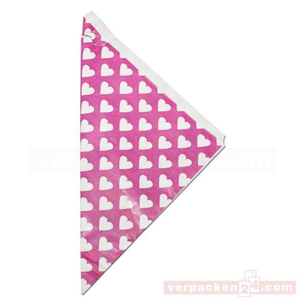 Spitztüten weiß, Kraftpapier - Negativdruck Herzen pink
