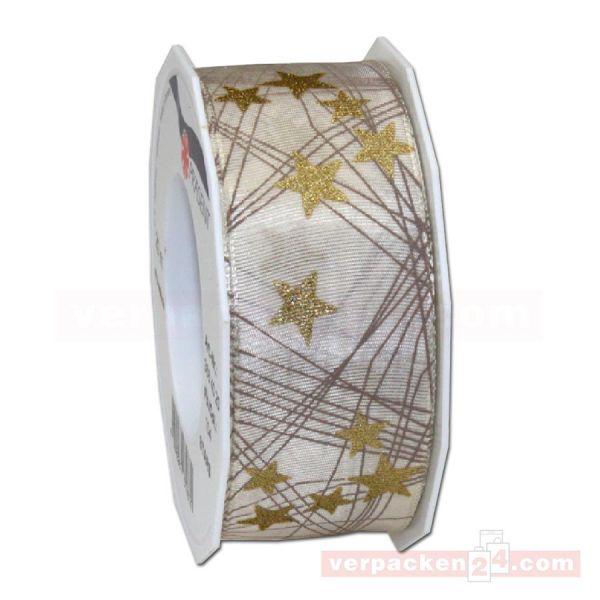 Seidenband mit Drahtkante - Stars - Rolle 40 mm - creme/gold