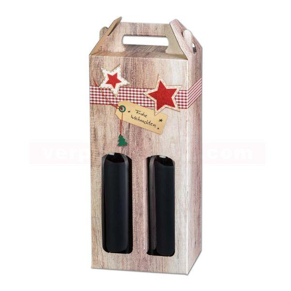 Wein-Tragekarton, Wood Frohe Weihnachten - 0,75l Flaschen