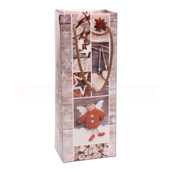 Weihnachts-Flaschentaschen Exclusiv - Vintage Stars 13+ 9x36cm