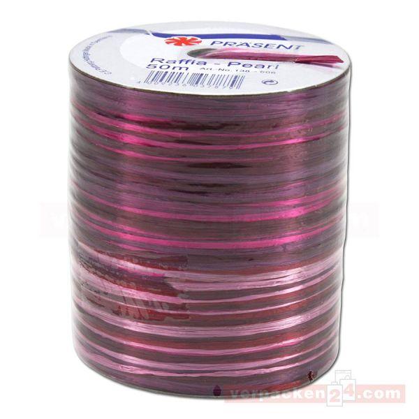 Bastband auf Spule - Raffia PEARL Multicolour 50 m - pink